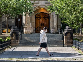 The front entrance of Trinity College at the University of Toronto is seen in a file photo from July 15, 2020.