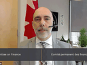 Parliamentary Budget Officer Yves Giroux appears virtually before the House of Commons finance committee on Thursday, March 18, 2021.