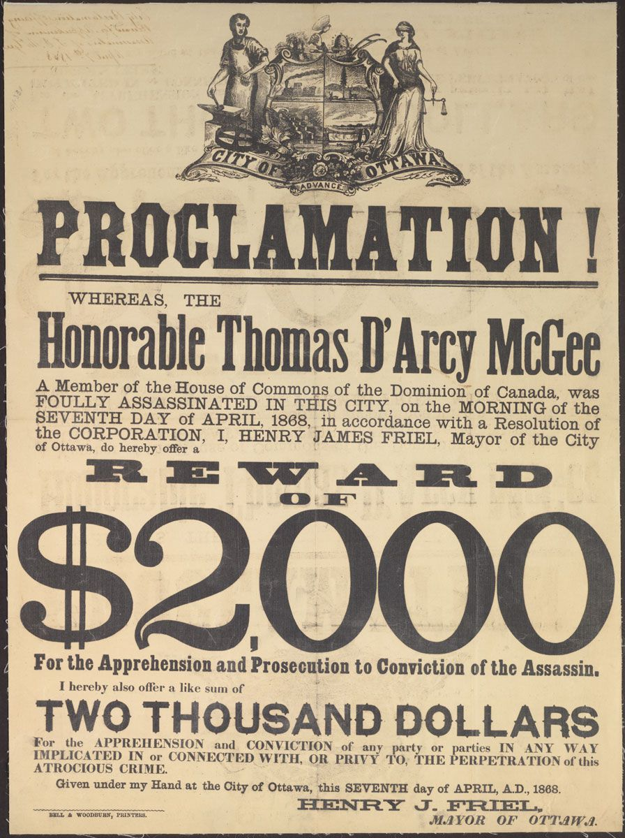 Wanted poster issued after McGee's assassination.