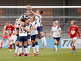 Tottenham Hotspur celebrates a goal against Bristol City on March 21. Because of the Women's Super League, a young girl just starting to show a talent for soccer, even one who lives in Canada, now has a real chance at having a truly professional career.