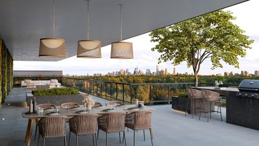 The outdoor terrace at Bayview at The Village. SUPPLIED