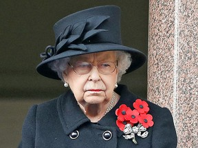 Queen Elizabeth II attends the Remembrance Sunday ceremony on November 08, 2020, at the Cenotaph on Whitehall in central London.