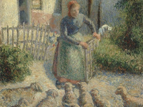 Detail from Camille Pissarro's La Bergère Rentrant des Moutons (Shepherdess Bringing in Sheep).