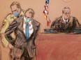 Former Minneapolis police officer Derek Chauvin, centre, is placed in handcuffs, after a jury found him guilty on all counts in his trial for second-degree murder, third-degree murder and second-degree manslaughter in the death of George Floyd in Minneapolis, on April 20, in this courtroom sketch.