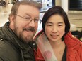 Timothy Sauvé, 61, of Mississauga, and his partner, Julie Garcia, celebrate Valentines Day before he received a life-saving double lung transplant in February that replaced his lungs, destroyed by COVID-19.