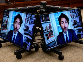 Prime Minister Justin Trudeau appears as a witness via videoconference during a House of Commons finance committee meeting on July 30, 2020.