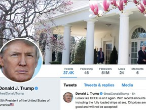The masthead of U.S. President Donald Trump's @realDonaldTrump Twitter account with a message about OPEC policy is seen on April 20, 2018.