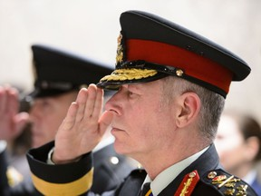Chief of Defence Staff Jonathan Vance salutes during a ceremony to mark the opening of the Room of Remembrance in the new welcome centre on Parliament Hill in Ottawa on Tuesday, Feb. 5, 2019.