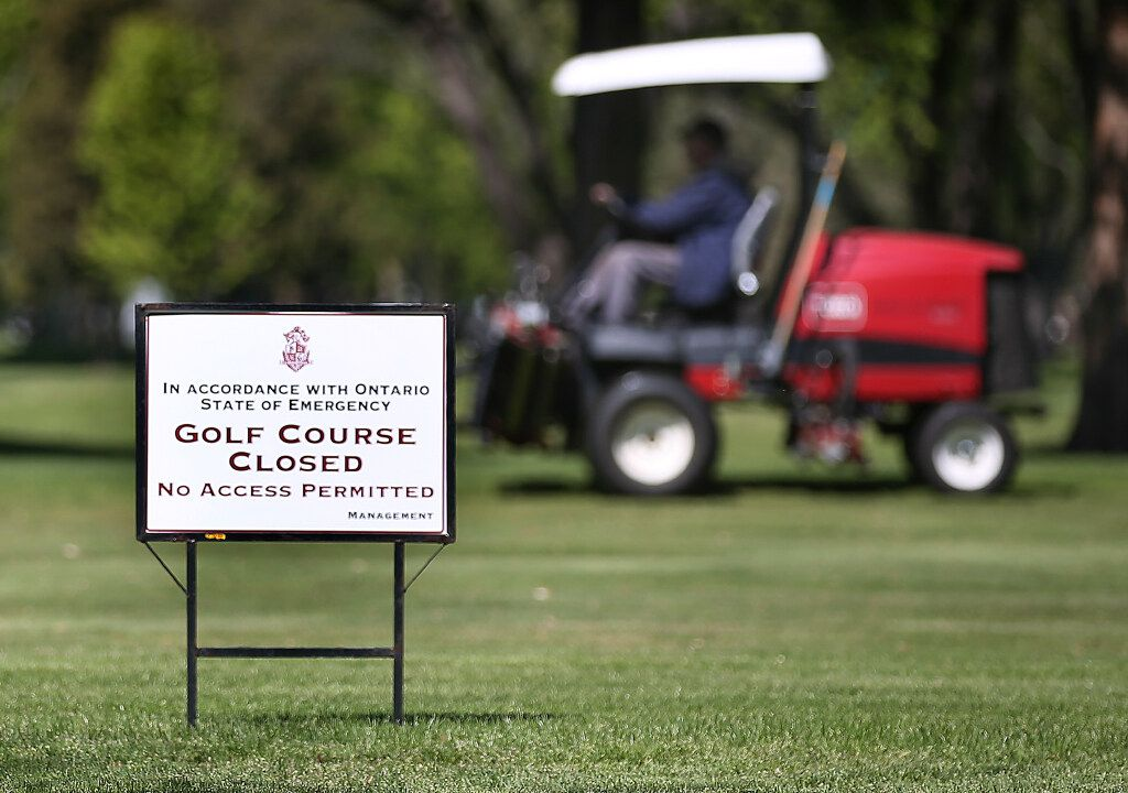 A sign indicating that the course is closed is shown at the Beach Grove Golf and Country Club in Tecumseh on Thursday, May 13, 2021.