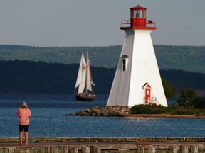 A lighthouse in Baddeck, Nova Scotia.