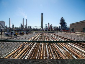 General view of the Imperial Oil refinery, located near Enbridge's Line 5 pipeline, which Michigan Governor Gretchen Whitmer ordered shut down in May 2021, in Sarnia, Ontario, Canada March 20, 2021.