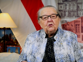Ivonka Survilla, the 85-year-old President of the Belarusian Democratic Republic in Exile, delivers a November video address from Ottawa.