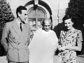 Lord Louis Mountbatten and Lady Edwina Mountbatten receive political and spiritual leader of India Mahatma Gandhi, when Lord Mountbatten became Viceroy of the British Indian Empire in 1947.