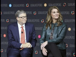 (FILES) In this file photo taken on September 26, 2018 Bill Gates and his wife Melinda Gates introduce the Goalkeepers event at the Lincoln Center in New York. - Bill and Melinda Gates have announced that they are divorcing after 27 years of marriage. (Photo by Ludovic MARIN / AFP)
