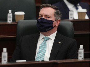 Premier Jason Kenney in the Alberta Legislature during the reading of the 2021 provincial budget on Feb. 25, 2021.