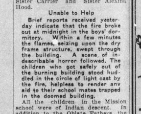 From a Calgary Herald report of the 1927 fire at Beauval Indian Residential School.