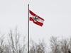 A Hitler youth flag flies over a business near Boyle, Alberta. It was taken down after a visit from the RCMP on May 5, 2021.