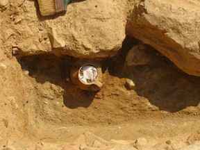 The jar discovered with chicken bones in the ancient Agora of Athens.