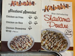 Shawarma poutine on offer at a restaurant in Toronto.