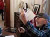 Richard Barnett, a supporter of former U.S. President Donald Trump sits inside the office of Speaker of the House Nancy Pelosi as he protests inside the U.S. Capitol in Washington, DC, January 6, 2021.