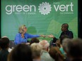 Then-Green leader Elizabeth May, left, speaks with Annamie Paul during a fireside chat about the climate, in Toronto, in 2019.