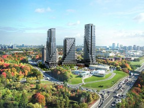 Tridel's Auberge on the Park, at Leslie just north of Eglinton, will offer two-storey townhomes and a trio of high-rise towers overlooking Sunnybrook Park.