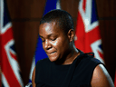 Green Party of Canada Leader Annamie Paul speaks at a news conference regarding the defection of MP Jenica Atwin to the Liberal Party, June 10, 2021.