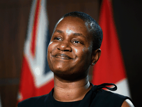 Annamie Paul, leader of the Green Party of Canada, speaks at a news conference after New Brunswick MP Jenica Atwin revealed she had left the Green Party to join the Liberals, on Parliament Hill, June 10, 2021.