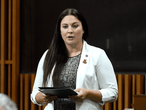 MP Jenica Atwin speaks in the House of Commons on Parliament Hill on Sept. 29, 2020. Atwin has crossed the floor to join the Liberals, after being elected as a Green Party member in 2019.