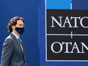 Prime Minister Justin Trudeau arrives for a NATO summit at the NATO headquarters in Brussels, on June 14, 2021.