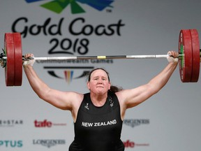 Trans weightligter Laurel Hubbard of New Zealand competes at the Gold Coast 2018 Commonwealth Games.