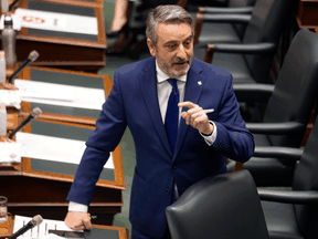 House Leader Paul Calandra during question period at the Ontario legislature in Toronto on June 14, 2021.