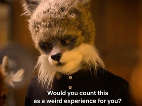 A contestant in a furry disguise in the trailer for the upcoming Netflix show Sexy Beasts.