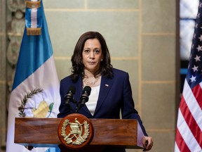 U.S. Vice President Kamala Harris says 'Do not come. Do not come. The United States will continue to enforce our laws and secure our borders. If you come to our border, you will be turned back' while speaking about migrants heading to the U.S. at a news conference with Guatemalan President Alejandro Giammattei during her visit, in Guatemala City, Guatemala on June 7.