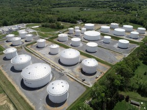 Holding tanks are seen in an aerial photograph at Colonial Pipeline's Dorsey Junction Station in Woodbine, Maryland, on May 10.