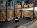 Temporary street patios earlier this month in Toronto as they were being prepared by restaurants and bars in anticipation of the end of lockdown.