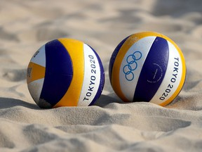 TOKYO, JAPAN - JULY 20: A detail photo of a beach volleyball at Shiokaze Park during training ahead of the Tokyo 2020 Olympic Games on July 20, 2021 in Tokyo, Japan.