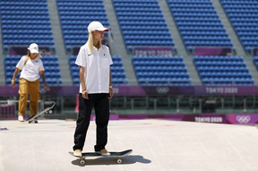 Aori Nishimura of Team Japan practices on the skateboard street course ahead of the Tokyo 2020 Olympic Games. (Photo by Ezra Shaw/Getty Images)