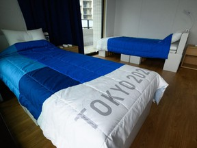 This file photo taken on June 20, 2021, shows recyclable cardboard beds and mattresses for athletes during a media tour at the Olympic and Paralympic Village for the Tokyo 2020 Games.