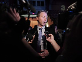 Tim Houston speaks to reporters at Nova Scotia Progressive Conservative Party leadership conference in Halifax in October 2018.
