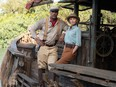 """Dwayne """"The Rock"""" Johnson and Emily """"Pants"""" Blunt in Jungle Cruise."""