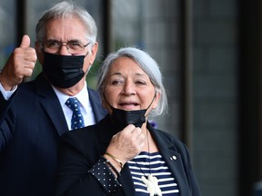 Mary Simon and her husband, Whit Fraser, after the announcement of her being named Governor General at the Canadian Museum of History in Gatineau, Que.