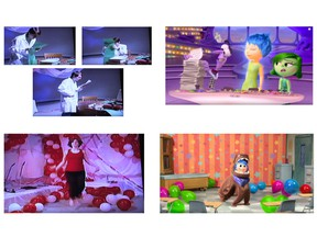 Damon Pourshian's statement of claim alleges that Pixar's Joy character (bottom right) is based on his Heart character (bottom left), as both are upbeat and sentimental; Brain (top left) and Fear (top right) are both tightly wound nerdy male characters prone to panic who search through stacks of paper.