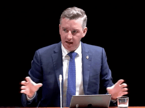 Conservative MP Michael Barrett speaks at an emergency meeting of the House of Commons ethics committee on Monday, July 12, 2021.