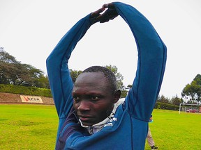 Paulo Amotun Lokoro, a refugee from South Sudan, trains for the Tokyo Olympic Games at a training centre in Ngong, in the outskirts of Nairobi, Kenya June 7.
