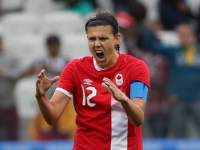 Christine Sinclair of Canada celebrates goal at the 2016 Rio Olympics. Canada open the 2020 Tokyo Olympics on Wednesday, July 21 against Japan at the Sapporo Dome, in Sapporo, Japan.