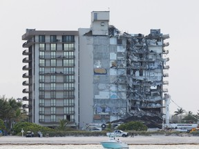 View of the partially collapsed residential building as rescue operations are stopped, in Surfside, Florida, U.S., July 4, 2021.