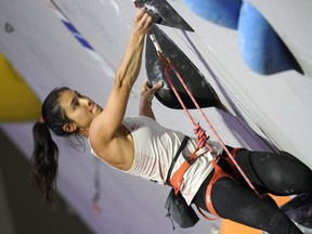 Alannah Yip of Canada competes in the Women Lead event during Combined Women's Qualification on day eight of the IFSC Climbing World Championships at the Esforta Arena Hachioji on August 18, 2019 in Hachioji, Tokyo, Japan.
