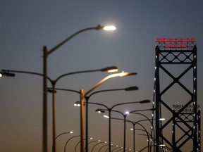 The Ambassador Bridge connecting Detroit, Michigan, to Windsor. U.S. citizens and residents who've had a full course of COVID-19 vaccines could be allowed in for non-essential travel as early as mid-August.