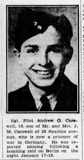 Clip from a February, 1943 Ottawa Citizen noting Carswell's capture by the Germans.